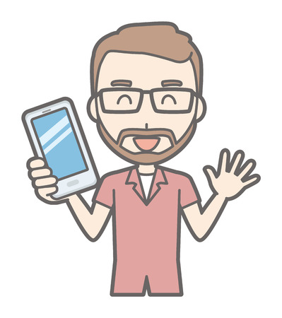 A man who has worn glasses and bearded has a smartphone. Illustration