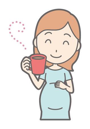 緑色のコーヒーを飲む妊娠中の女性