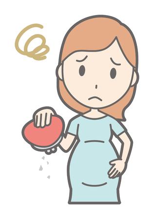 Een zwangere vrouw in groene jurk heeft een lege portemonnee. Stockfoto - 92737433