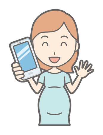 A pregnant woman in green's clothes has a smartphone Stock Illustratie