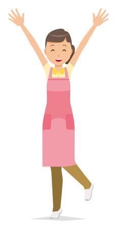 Una empleada doméstica que lleva un delantal levanta ambas manos