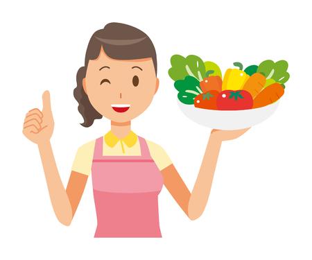 A female home helper wearing an apron has vegetables.
