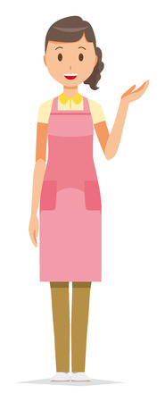 The female home helper wearing an apron is guiding