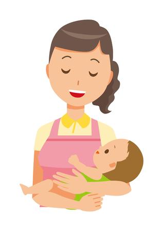 A female home helper wearing an apron hugs a baby illustration.