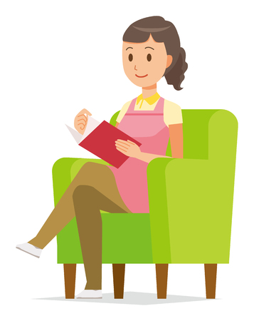 A female home helper wearing an apron sits on a sofa and is reading books.