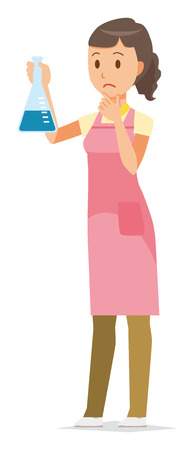 A female home helper wearing an apron has an Erlenmeyer flask.