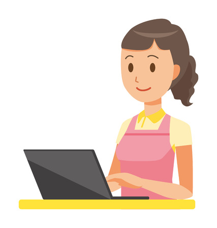 A female home helper wearing an apron is operating a laptop computer Çizim