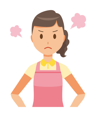 A female home helper in an apron is angry illustration.