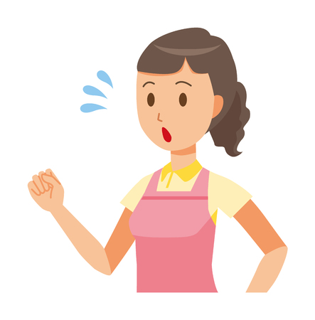 A female home helper wearing an apron is running illustration. Illustration