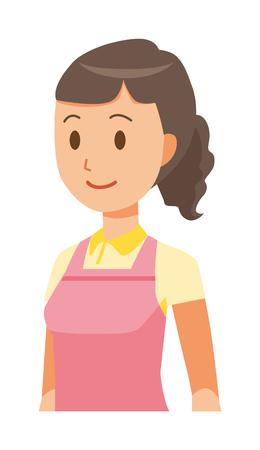 A female home helper wearing an apron is walking illustration.