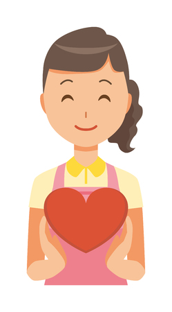 A female home helper wearing an apron has a heart mark
