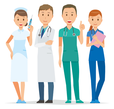 Four young medical staff members