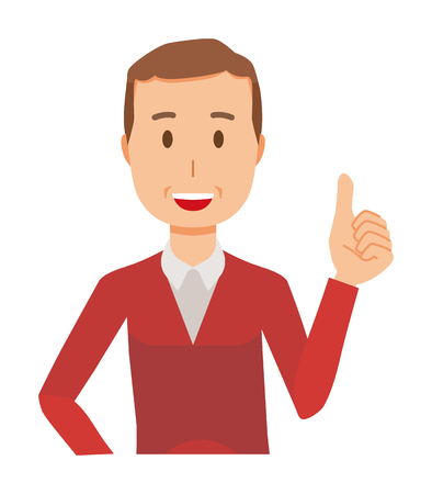 A middle-aged man wearing a sweater is showing thumbs up Illustration