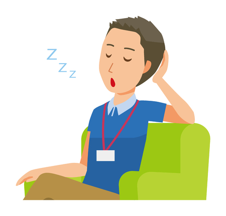 A male staff wearing nameplate sleeps on the sofa - upper body