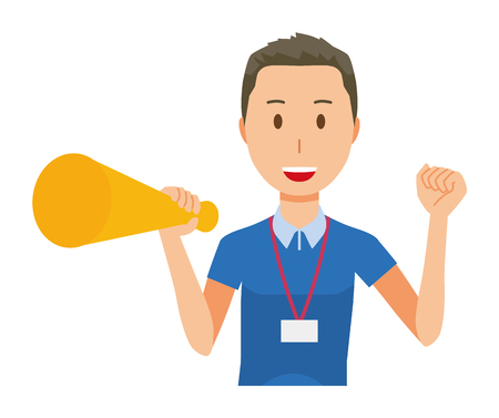 A male staff wearing name plate have a megaphone - upper body