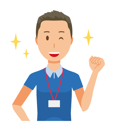 A male staff wearing nameplate is winking and raised one hand - upper body Illustration