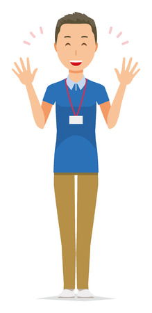 A male staff wearing a nameplate is spreading his hands Stock Illustratie