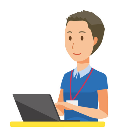 A male staff wearing nameplate is operating a laptop Ilustrace