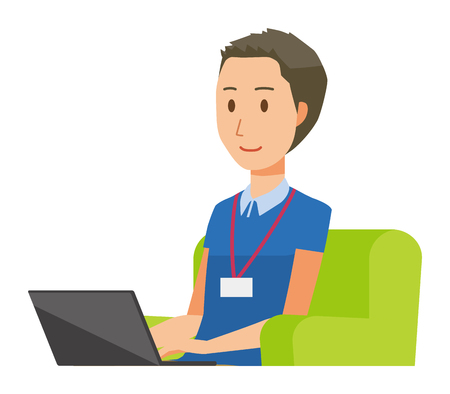 A male staff wearing nameplate sitting on the sofa and operating a laptop computer - upper body