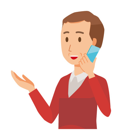 A middle-aged man wearing a sweater is calling by smart phone