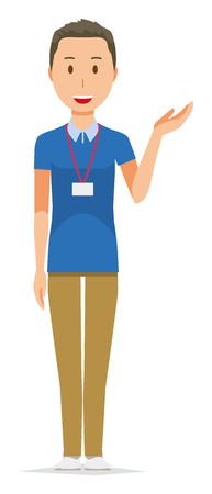 A male staff wearing a nameplate is informed Illustration