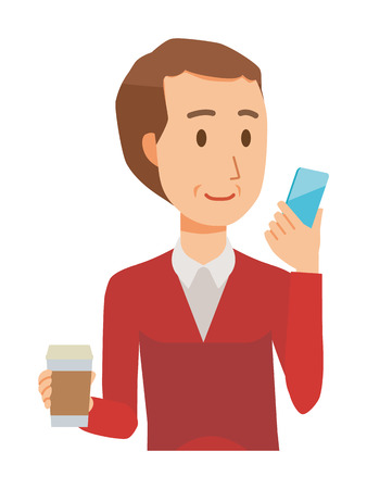 A middle-aged man wearing a sweater has coffee and manipulating a smartphone 矢量图像
