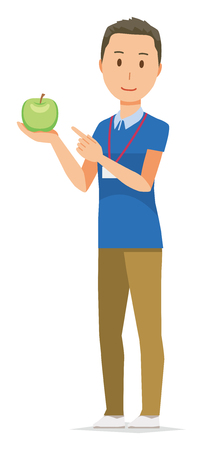 A male staff wearing nameplate has a green apple Stock Illustratie