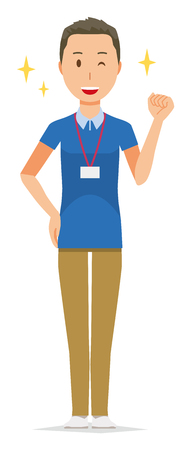 A male staff wearing nameplate is winking and raised one hand Illustration