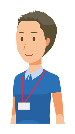 A male staff wearing nameplate is walking - upper body  イラスト・ベクター素材