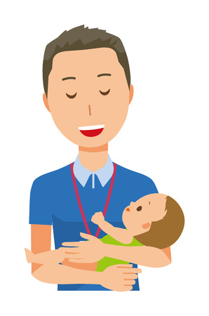 A male staff wearing nameplate is hugging a baby - upper body