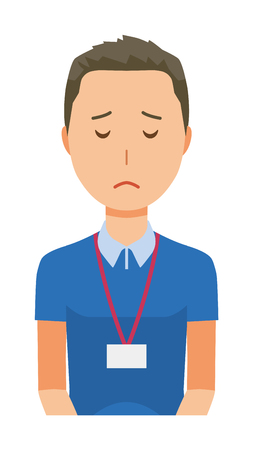 A male staff wearing a nameplate is apologizing - upper body Illustration