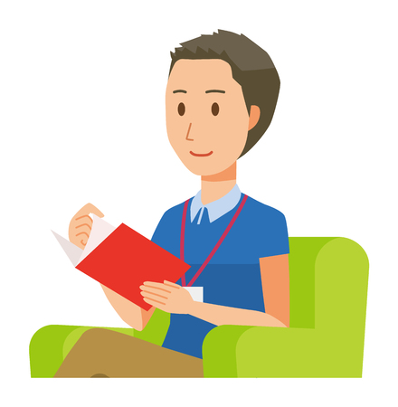 A male staff wearing nameplate is reading on a sofa - upper body