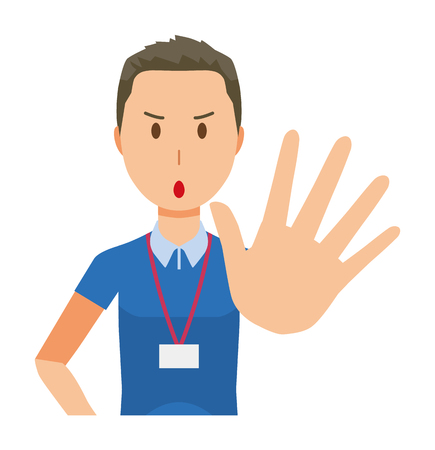 A male staff wearing name plate is stop gesture - upper body