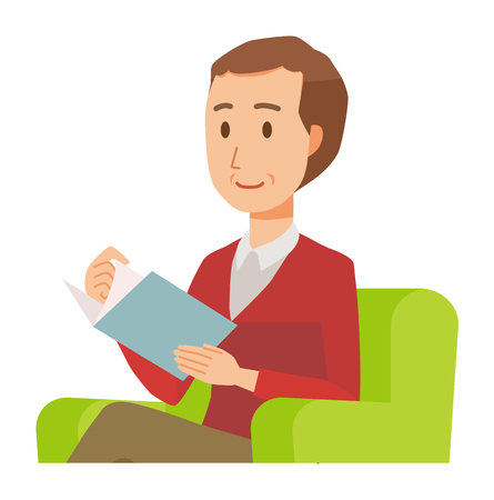 A middle-aged man wearing a sweater is reading on a sofa 矢量图像