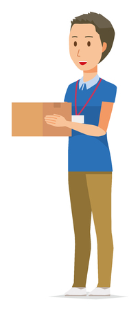 A male staff wearing name plate has a box Illustration