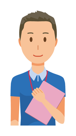 A male staff wearing a nameplate has a file - upper body  イラスト・ベクター素材