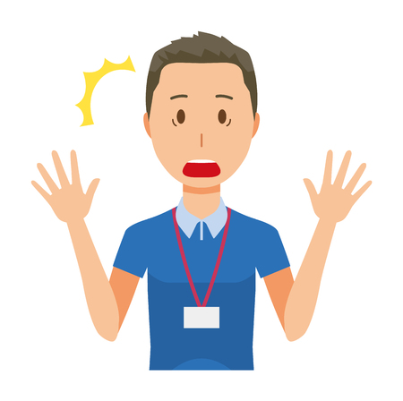 A male staff wearing a nameplate is surprised - upper body Stock Illustratie