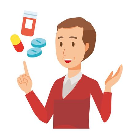A middle-aged man wearing a sweater is explains about medicine Ilustração