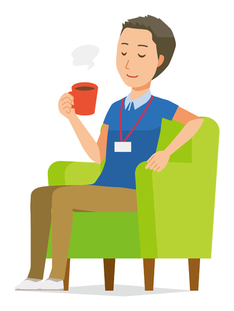 A male staff wearing nameplate is sitting on the sofa and drinking coffee