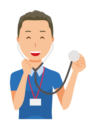 A male staff wearing nameplate has a stethoscope - upper body Illustration