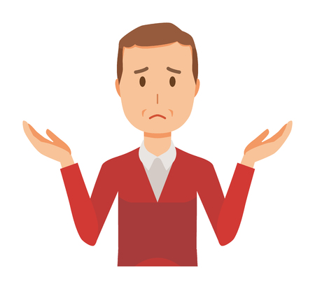 Man wearing a sweater is shrugging his shoulders Illustration