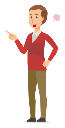 A middle-aged man wearing a sweater is angrily pointing to a finger Vektorové ilustrace