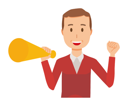 A middle-aged man wearing a sweater has a megaphone