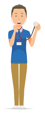 A male staff wearing nameplate has a stethoscope