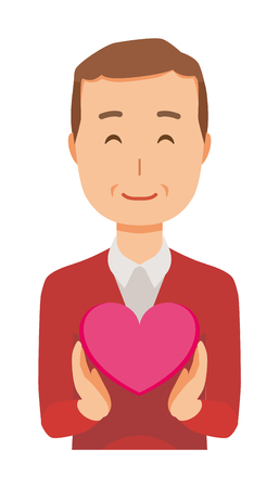 Man wearing a sweater has a heart mark Illustration