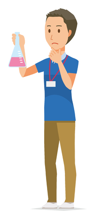 A male staff wearing nameplate has an erlenmeyer flask Illustration