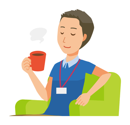 A male staff wearing nameplate is sitting on the sofa and drinking coffee - upper body Ilustrace