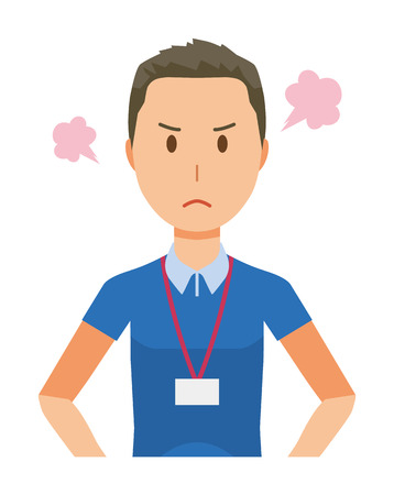 A male staff wearing a nameplate is angry - upper body Illustration