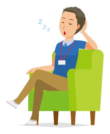 A male staff wearing nameplate sleeps on the sofa
