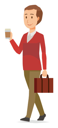 Man wearing a sweater is walking with coffee Illustration